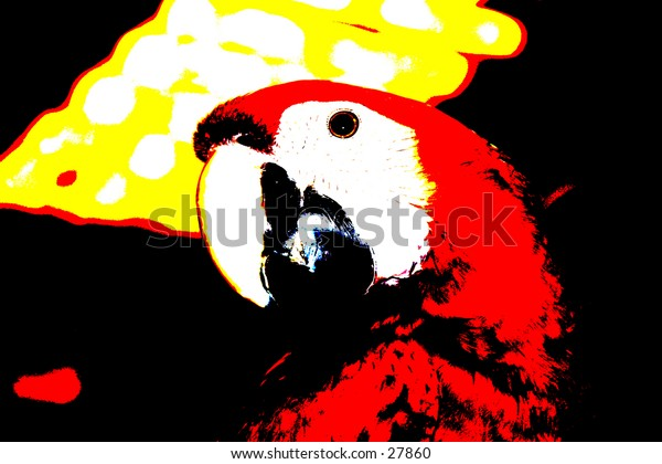 Pop Art of a Macaw Parrot with beautiful bright viberant colors