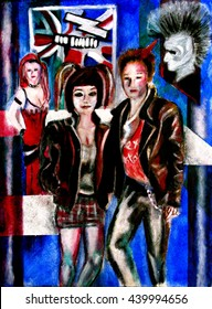 pop art style painting , male and female figures in leather jackets and alternative hair style