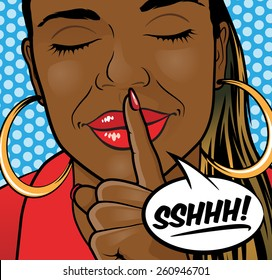 Pop Art Styled Illustration of aa African American Girl putting her forefinger to her lips to indicate silence is required.