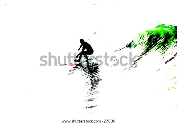 Pop art of a surfer riding the waves a great image for a logo or greeting card
