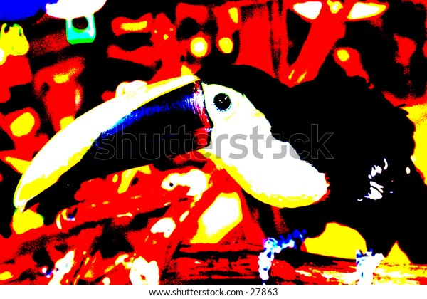 Pop Art of a tucan  with beautiful bright viberant colors