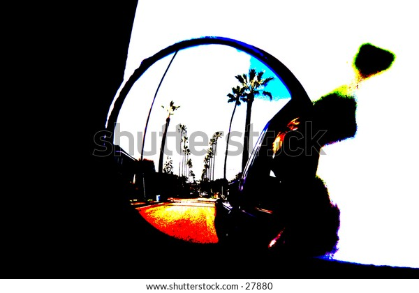 pop art version of a car side view mirror shows a reflection of palm trees lined up along a city street with white fluffy clouds