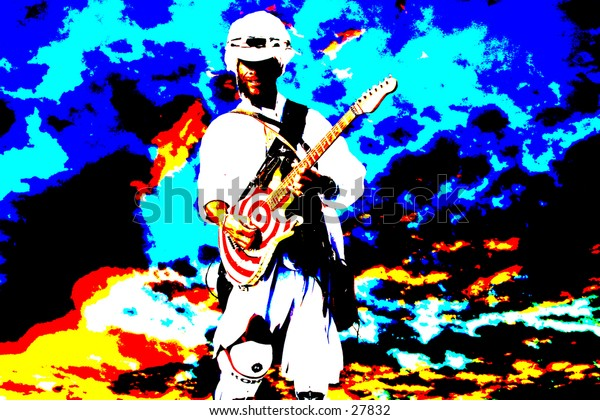 a pop art version of a guy playing a guitar against a wild colored sky