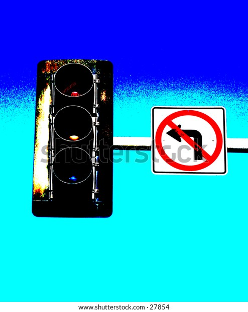 a pop art version of a no left turn sign attached to a traffic light with a blue sky background