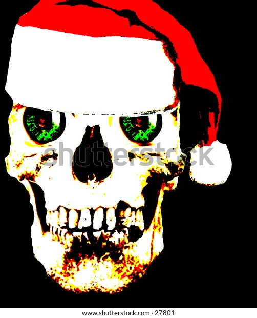 pop art version of a real human skull with bright green eyes and wearing a santa hat.
