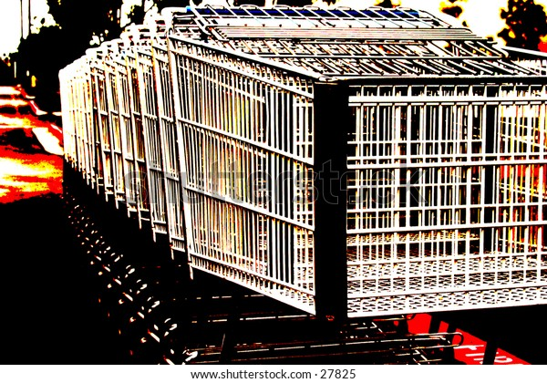 pop art version of Shopping carts lined up in a parking lot