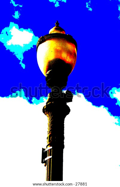 pop art version of a street light with blue sky and white fluffy clouds in the background