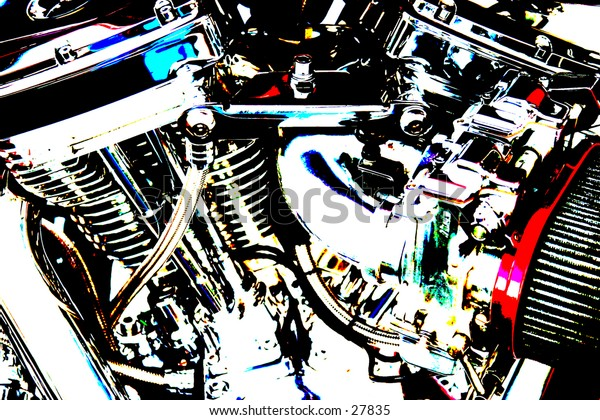 pop art version of a v-twin motorcycle engine showing chrome and a air filter