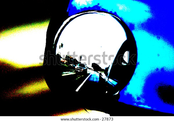 pop art view of a car side mirror with reflections of the road behind