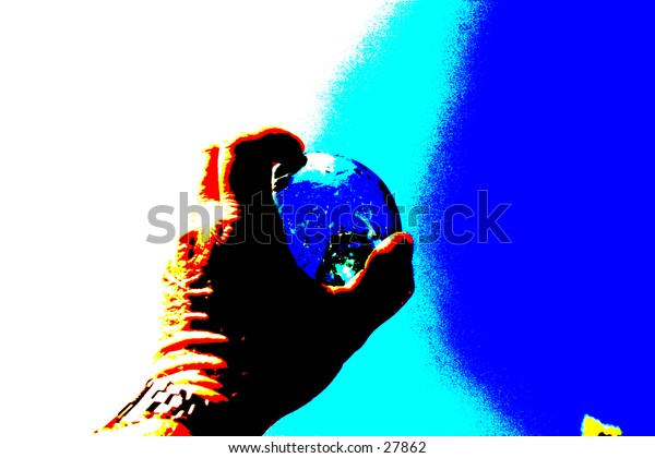 pop art view of a hand holding a blue glass globe with blues in the back ground