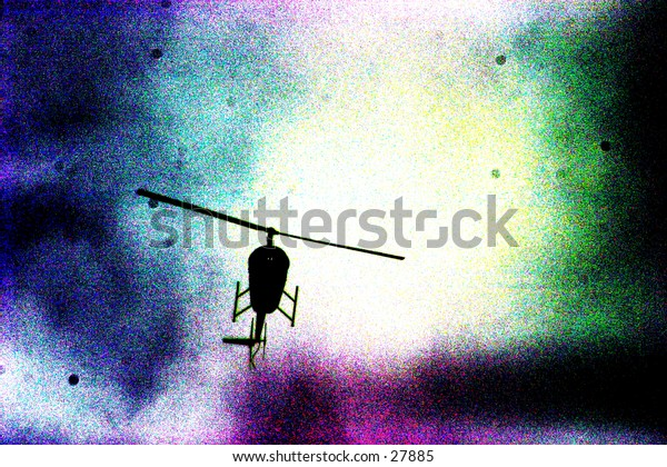 pop art view of a helicopter in the sky