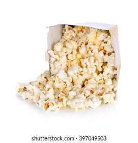 Pop corn Salt  in paper box on white background