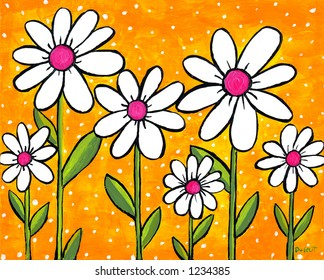 Pop Daisies Illustration Painting on Yellow Background