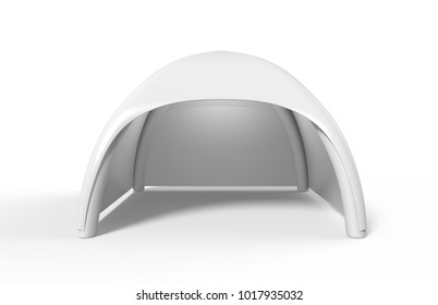 Pop Up Dome Spider Inflatable Advertising Arch White Blank Tent. 3d render illustration.