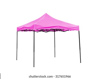 Pop Up gazebo, Pink rain tent on white background,Work with clipping path.