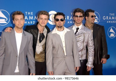Pop group *NSYNC at the 2002 Grammy Awards in Los Angeles.