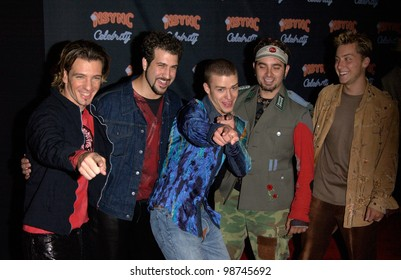 Pop group NSYNC at party in West Hollywood for the launch of their new album Celebrity. 23JUL2001  Paul Smith/Featureflash