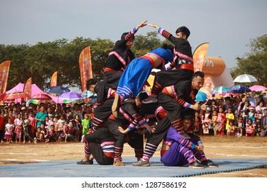 POP PRA, TAK, THAILAND - JANUARY 7, 2019 : The New Year 's Hmong tribes at Pop, Pra  , Tak, Thailand.