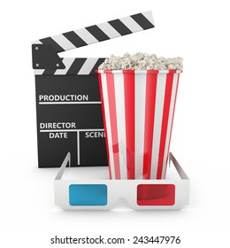 Popcorn,  3D glasses and clapboard on white background