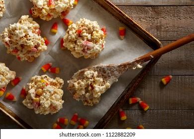 popcorn balls with candy corn