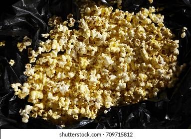 Popcorn in black bag