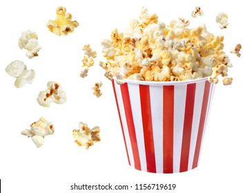 popcorn blast on white isolated clipping path  Composed of cinema or Billboard content.