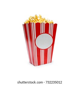 popcorn in a box isolated on white background