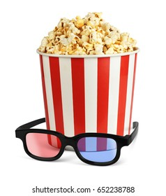 Popcorn in bucket with 3d glasses