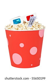 Popcorn bucket with two tickets and 3D anaglyph glasses isolated on a white background