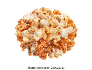 Popcorn in caramel closeup isolated on white