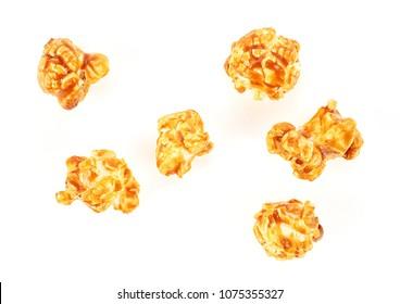 Popcorn with caramel isolated on a white background