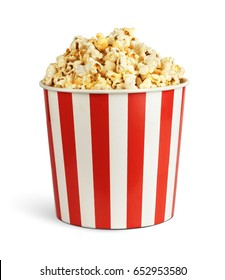 Popcorn in cardboard box isolated on white, clipping path