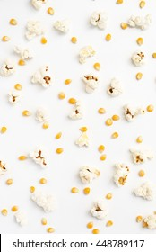 popcorn and corn seeds on white background, food background.