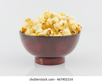 popcorn in cup on white background,