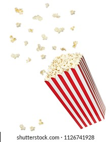 Popcorn explosion on red and white striped big box isolated on white bckground
