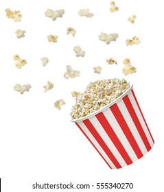 Popcorn explosion on white background