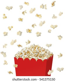 Popcorn falling or pouring in red bucket on white background