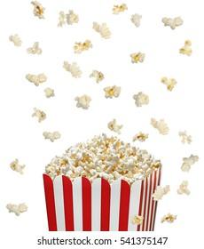 Popcorn falling in striped bucket on white background