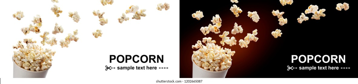 Popcorn flying out of cardboard box. Isolated on white and black backgrounds with copy space