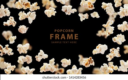 Popcorn frame with space for text, flying popcorn isolated on black background with copy space, movie poster concept