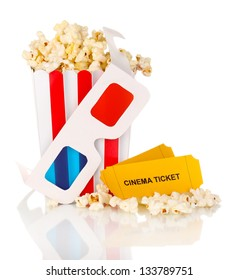 popcorn with glasses and tickets isolated on white