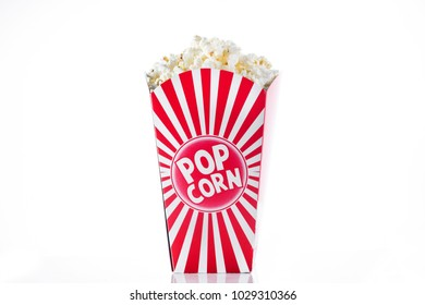 Popcorn inside the packaging striped isolated on white background