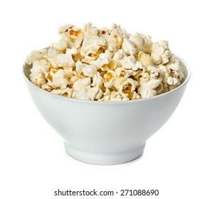 Popcorn isolated n a bowlon a white background