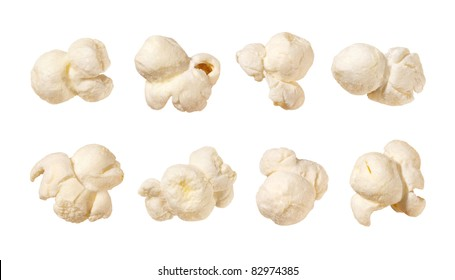 Popcorn isolated on a white background. Each shot separately.