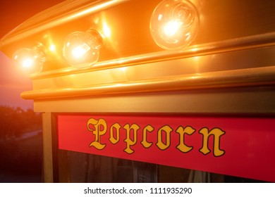 Popcorn machine with lights on