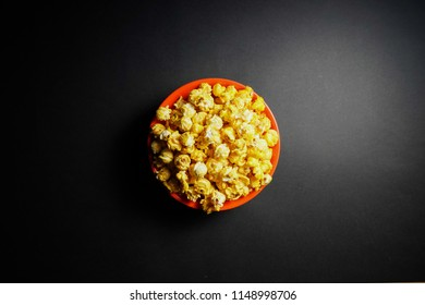 Popcorn on black background