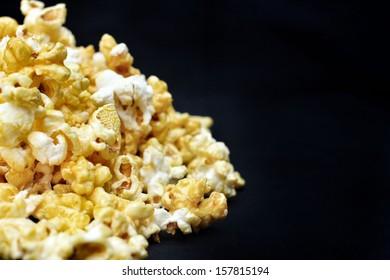 popcorn on the black background