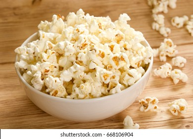 popcorn on wooden background