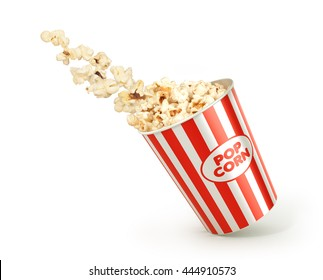 popcorn in the package isolated on white background