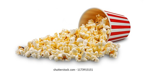 Popcorn or pop corn in red and white striped cardboard box isolated on white background